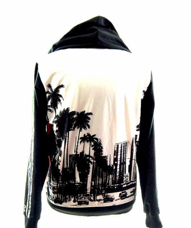 Back of Snazzy Tropical Print Adidas Zip Up Hoodie