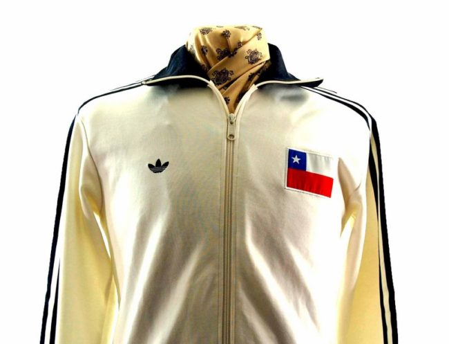Close up of 80s White Adidas Track Top