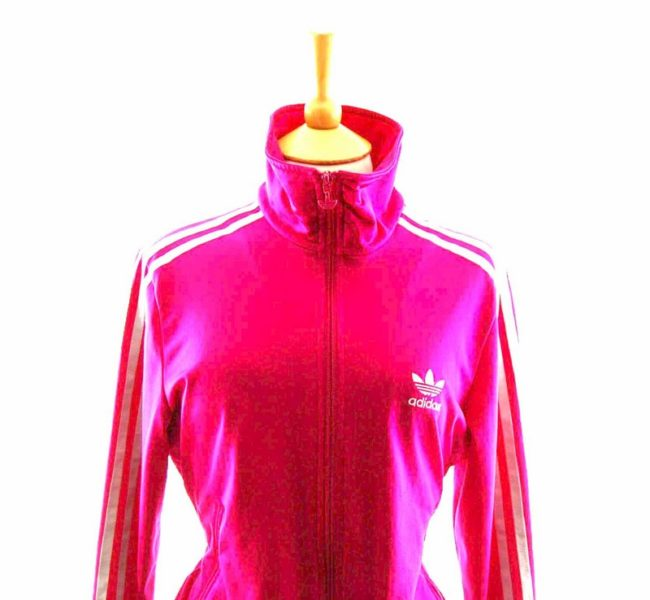 Close up of 90s Barbie Pink Ladies Adidas Tracksuit Top