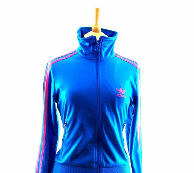 Close up of 90s Blue Adidas Tracksuit Top Womens