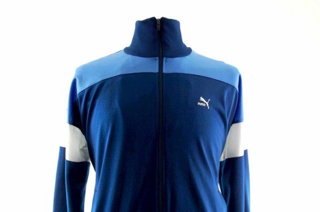 Close up of 90s Blue Puma Track Top