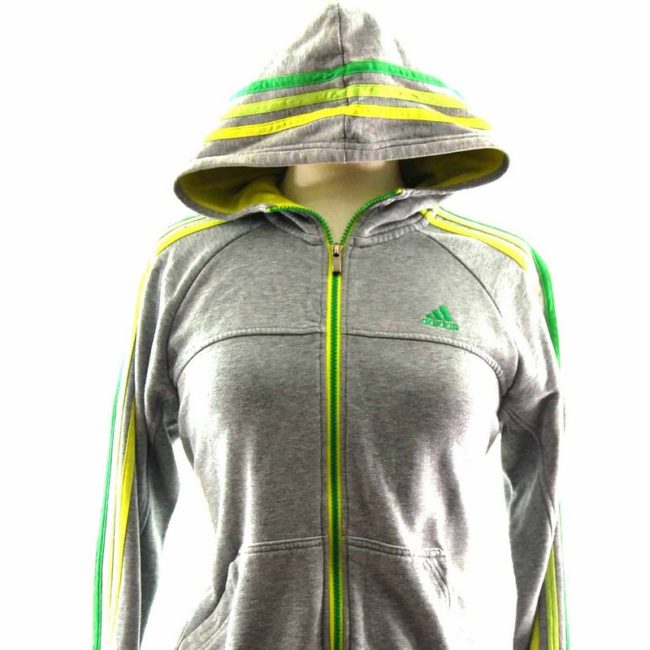 Close up of 90s Ladies Hooded Grey Adidas Top