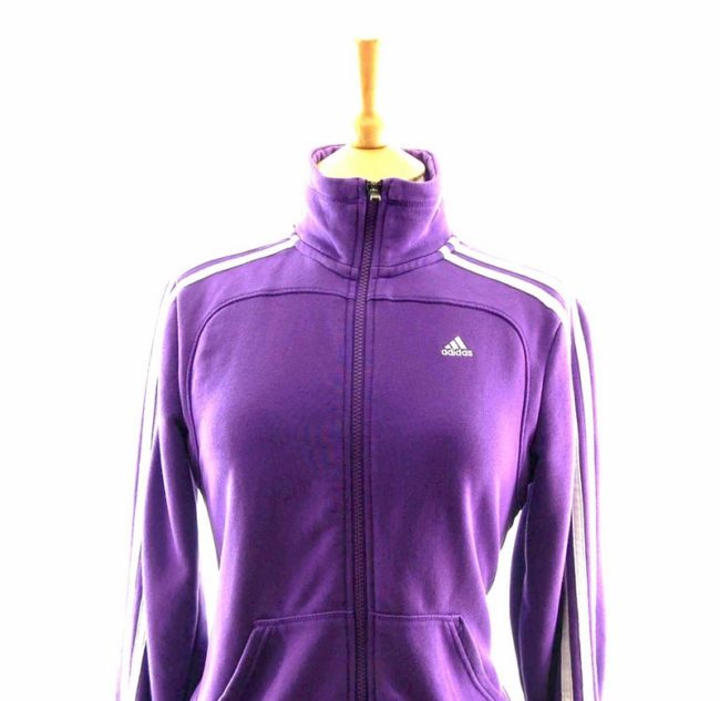 Close up of 90s Purple Adidas Track Jacket
