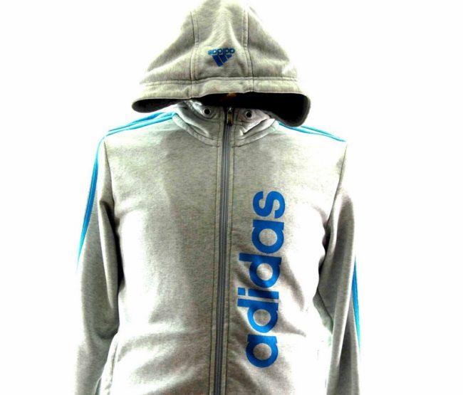 Close up of Grey Adidas Zip Up Hoodie