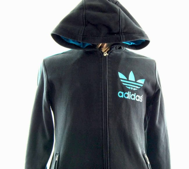 Close up of Hooded Black Adidas Track Top