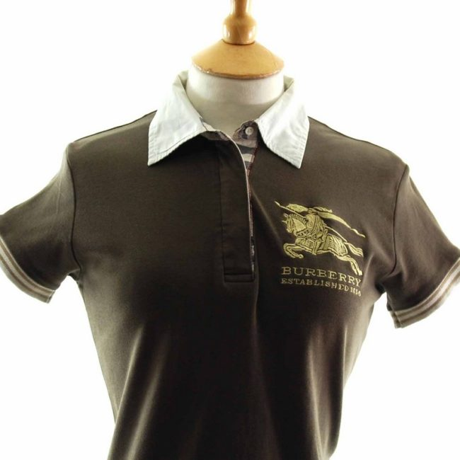 Close up of Ladies Brown Burberry polo shirt