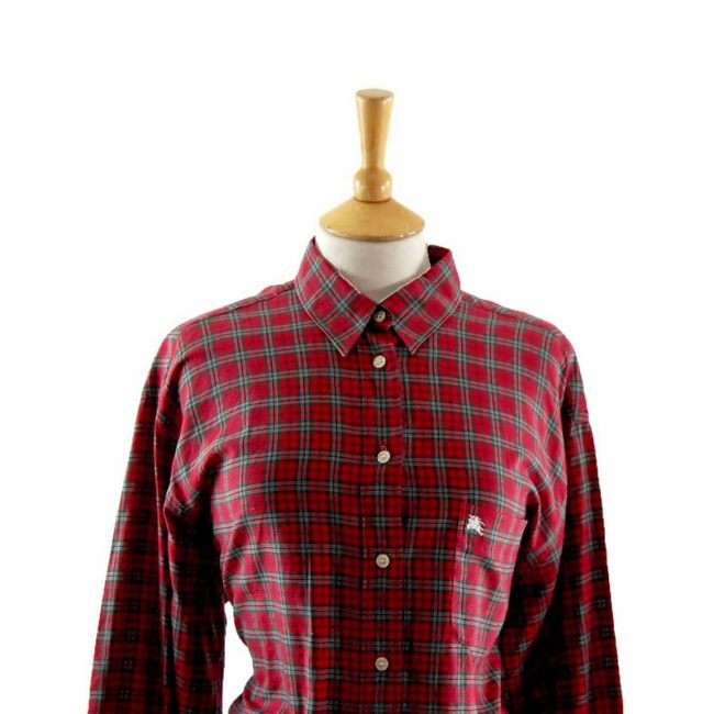 Close up of Ladies Burberry Check Shirt