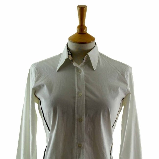 Close up of Ladies White Cotton Burberry Shirt