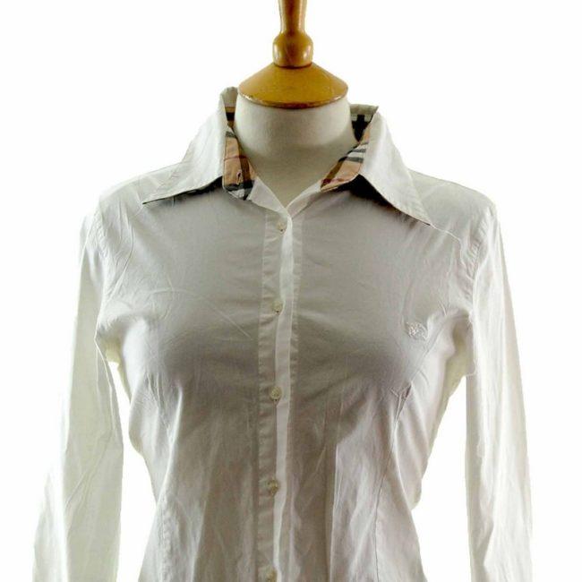 Close up of White Cotton Burberry Shirt Womens
