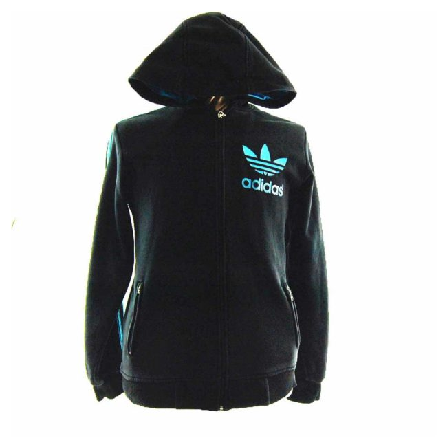 Hooded Black Adidas Track Top
