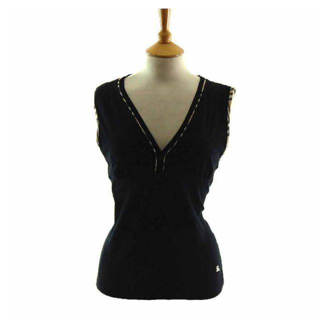 Ladies Black V Neck Burberry Top