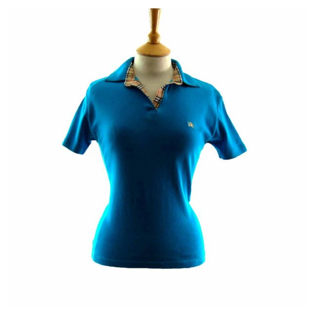 Ladies Bright Blue Burberry Polo Shirt