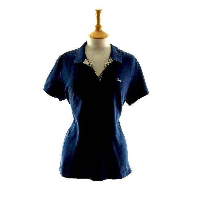 Ladies Dark Blue V Neck Burberry Polo Shirt