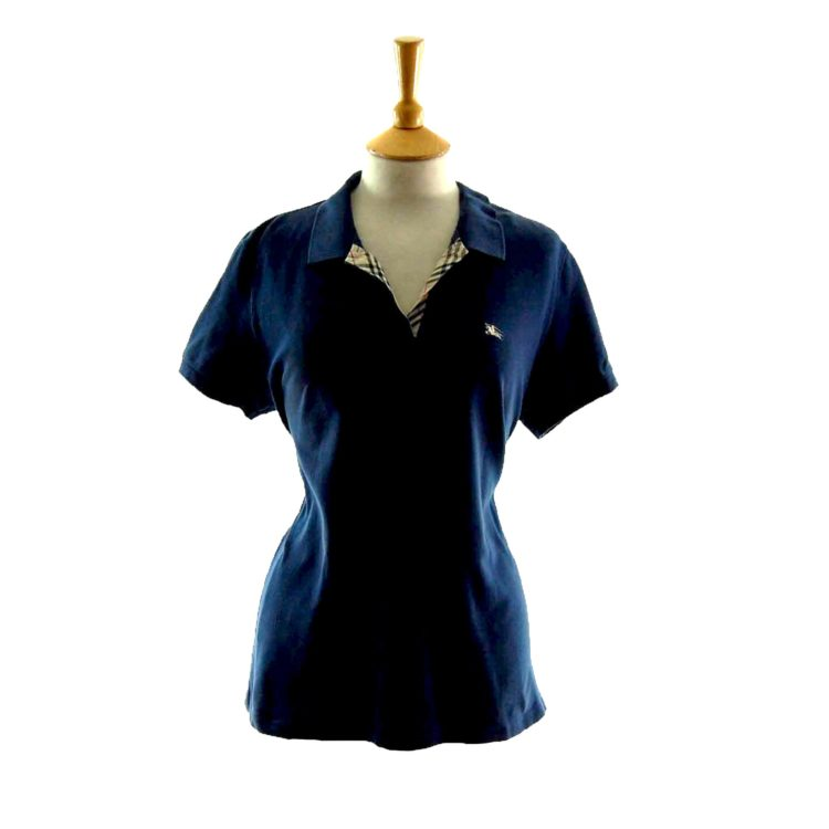 Ladies Dark Blue V Neck Burberry Polo Shirt