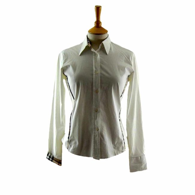 Ladies White Cotton Burberry Shirt