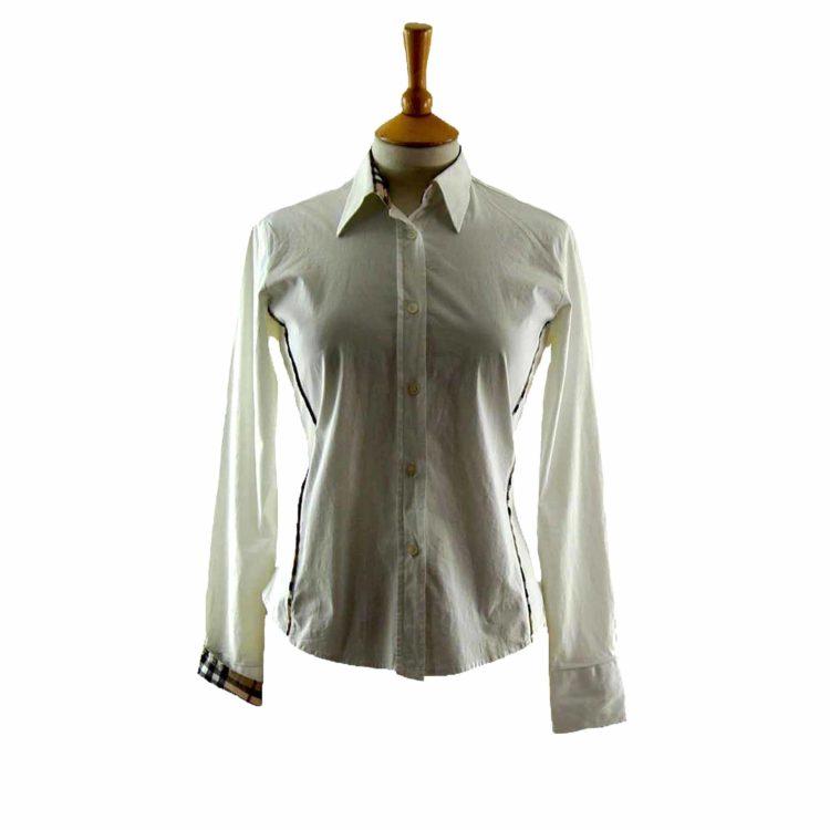 Ladies White Cotton Burberry Shirt