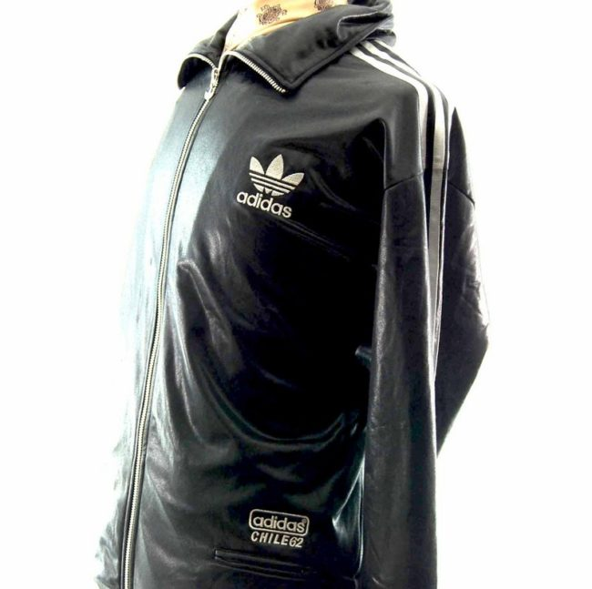 Side view of 90s Shiny Black Adidas Track Jacket