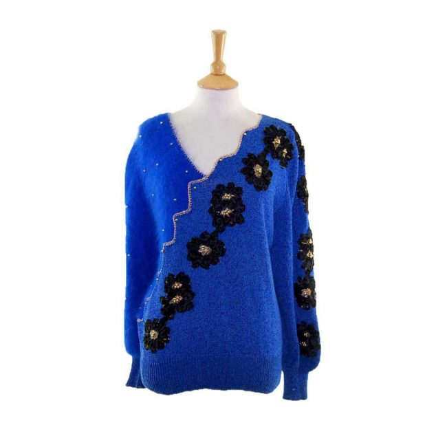 Blue Angora And Cotton 80s Sweater With Black Appliqued Flowers