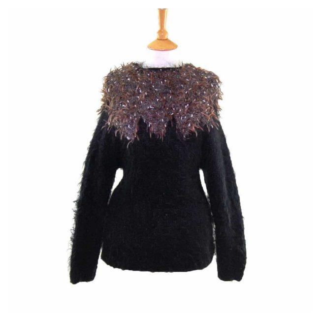 Black Long Sleeved Mohair 80s Sweater