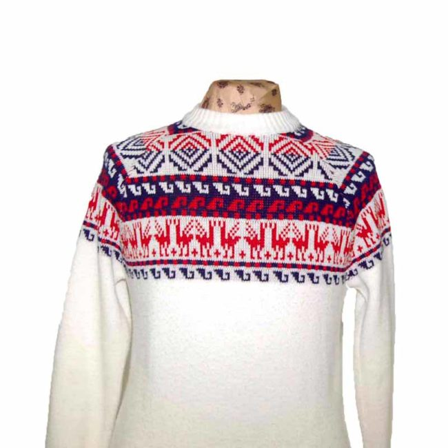 Close up of 70s Mens White Nordic Reindeer Sweater