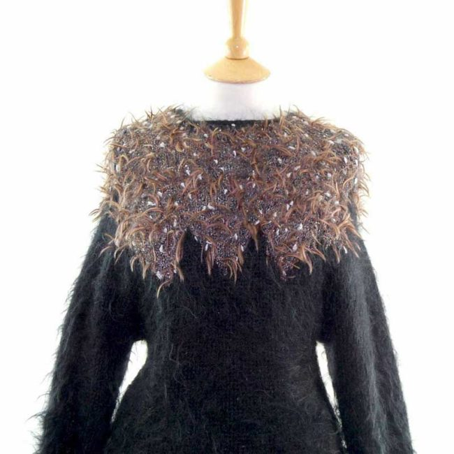 Close up of Black Long Sleeved Mohair 80s Sweater