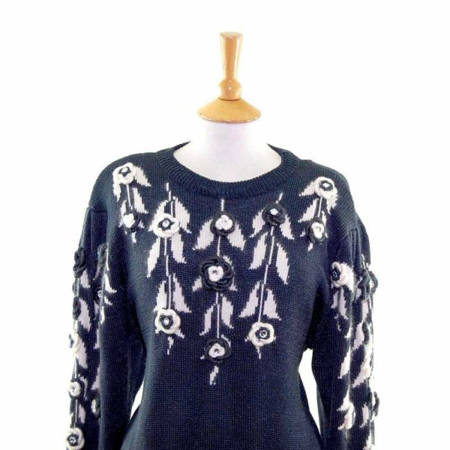 Close up of Ladies Black Floral Decorated Long Sleeve 80s Sweater