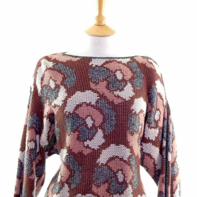 Close up of Ladies Funky Multicoloured Abstract Print Long Sleeve 80s Sweater