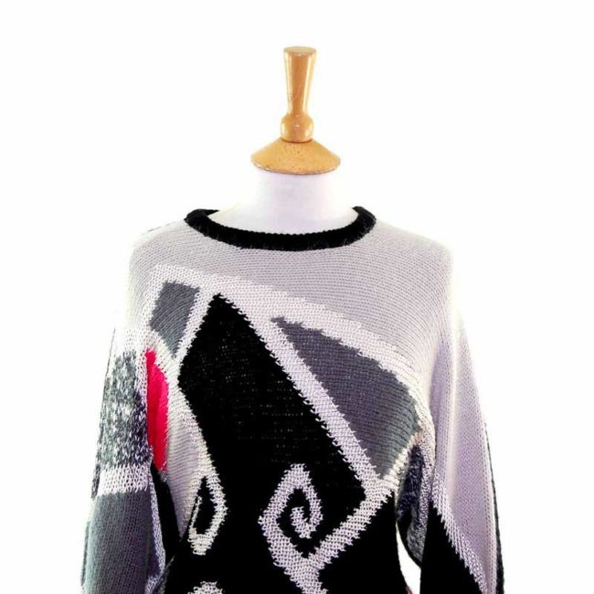 Close up of Ladies Funky Multicoloured Colourblock 80s Sweater