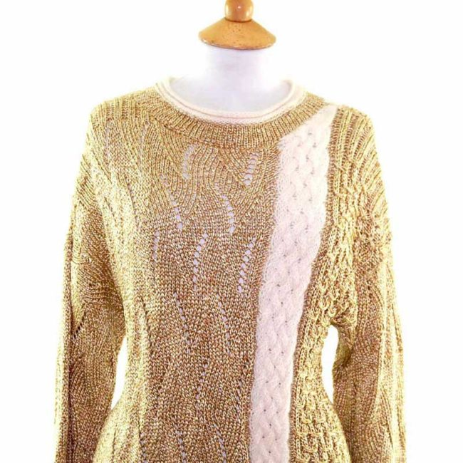 Close up of Ladies Gold Long Sleeved Cable Knit 80s Sweater