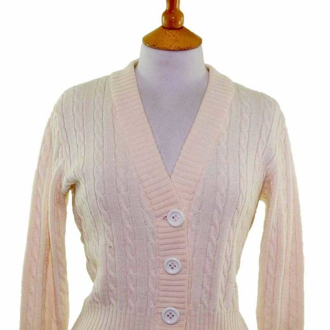 Close up of Ladies White Long Sleeve Cable Knit 70s Cardigan