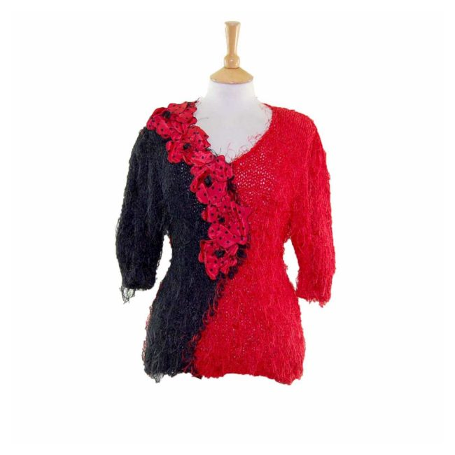 Hacienda Spanish Style Shaggy Floral Appliqued 80s Sweater