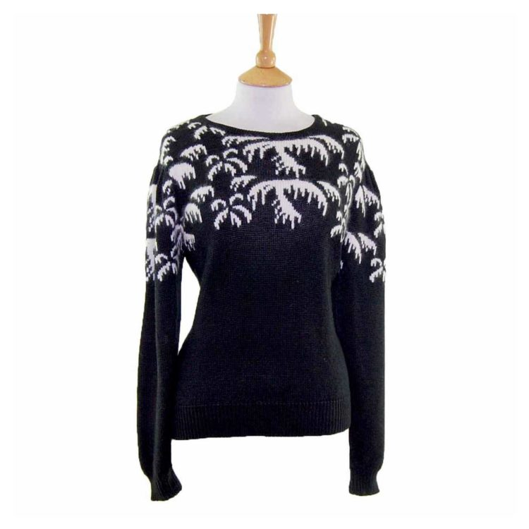 Ladies Black And White Long Sleeved 80s Sweater