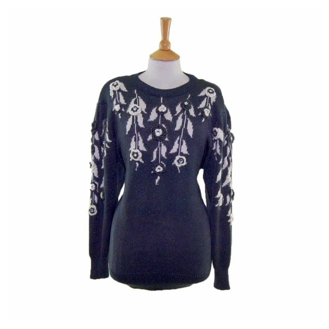 Ladies Black Floral Decorated Long Sleeve 80s Sweater
