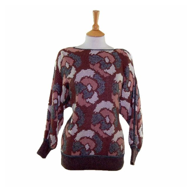 Ladies Funky Multicoloured Abstract Print Long Sleeve 80s Sweater