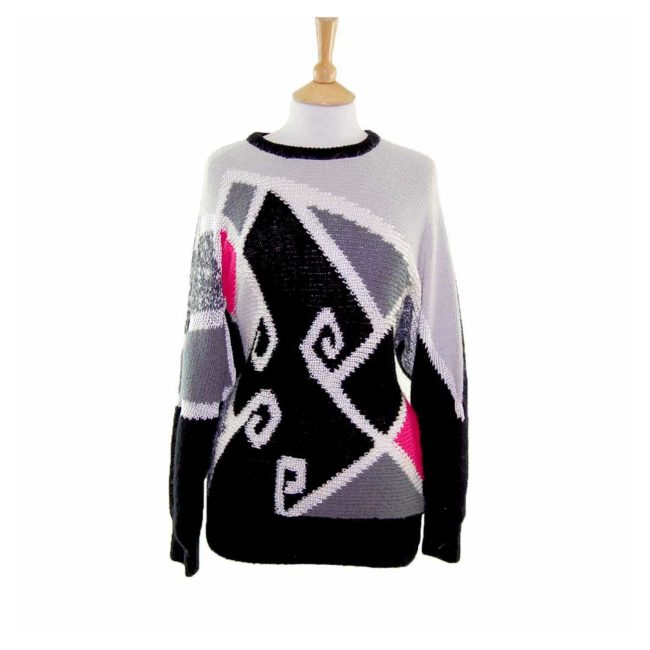 Ladies Funky Multicoloured Colourblock 80s Sweater