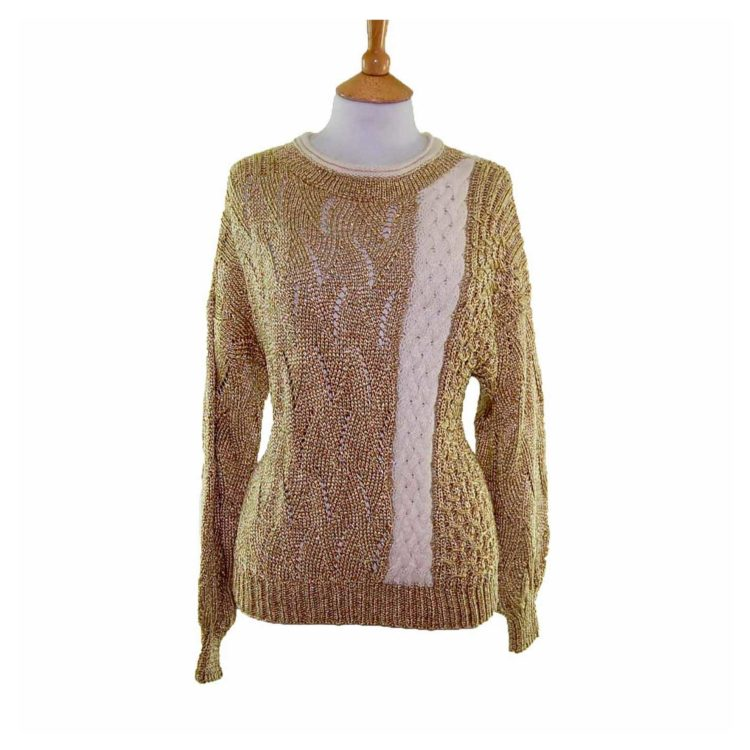 Ladies Gold Long Sleeved Cable Knit 80s Sweater