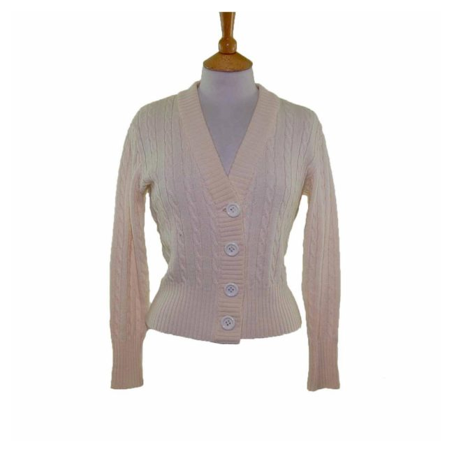 Ladies White Long Sleeve Cable Knit 70s Cardigan