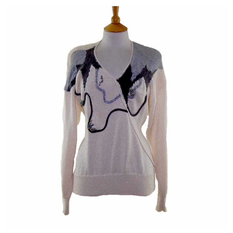 Ladies White Long Sleeved Beaded 80s Sweater
