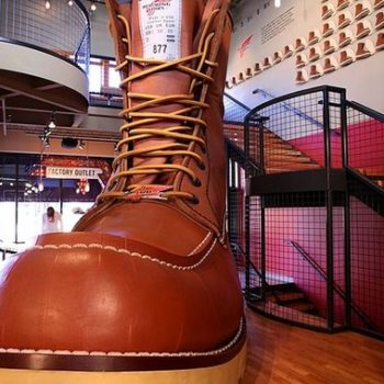 What are the best vintage workwear brands. Red Wing factory outlet with the Largest Boot in the world on display, Minnesota, USA