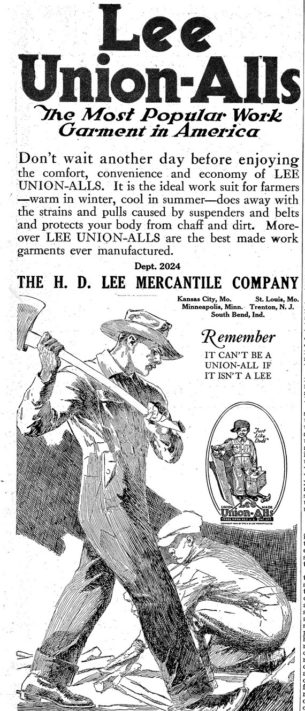 Vintage mens workwear.Photo of Lee Unionalls publicity poster