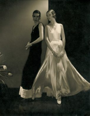 Marion Morehouse (Left) and another model wearing Madelaine Vionnet dresses, 1930