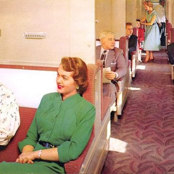 1950s Womens Workwear, Two Women seated in Union Pacific Railroad Pullman car, circa 1950s, Union Pacific Pullman car circa 1950s