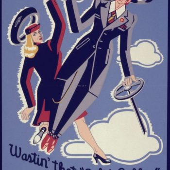 Vintage American workwear - Office for Emergency Management, War Production Board poster, Wastin' That Solid Rubber Ain't in the Groove, circa 1942 and 1943
