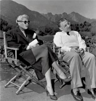 40s and 50s fashion - Lana Turner and George Cukor on set of Life of Her Own, 1950