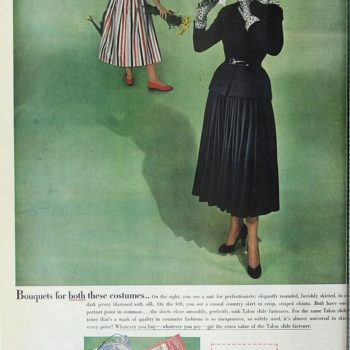 40s womens fashion-Talon zip fastener publicity cover, 1948