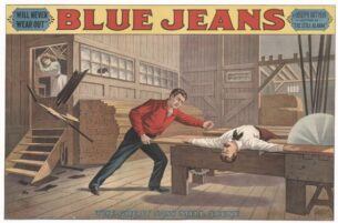 Blue Jeans, saw mill lithograph poster, 1890