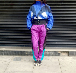 Blue and purple shell suit for sale