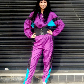 Purple, Turquoise and black shell suit 80s