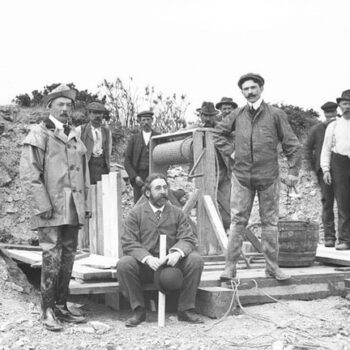 what workwear clothing always stays fashionable, Bonmahon Copper Mines Waterford; Ireland, 1906