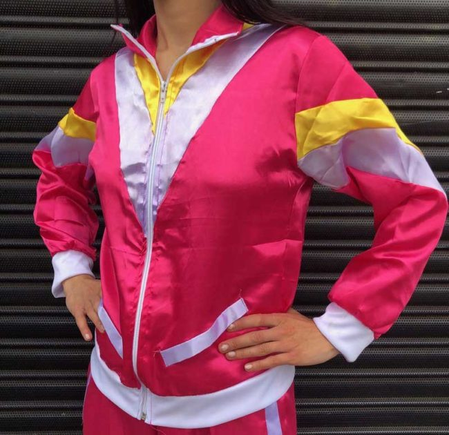 Front close up of Ladies 80s Pink Scouser Shell Suit